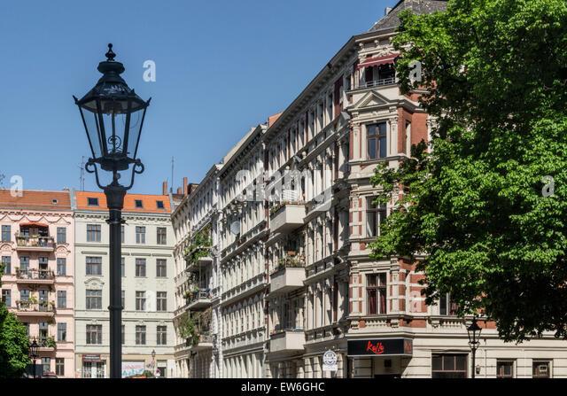 Old Houses at Chamisso Square in Kreuzberg, Berlin - Stock Image