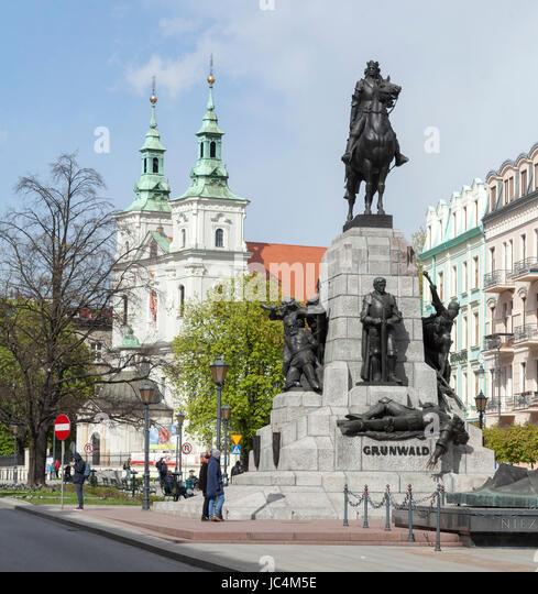 Grunwaldzki Monument, Plac Matejki Square,  Krakow, Lesser Poland, Poland, Europe - Stock-Bilder