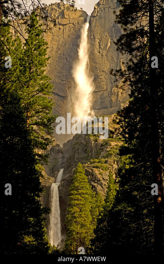 Yosemite Falls upper and lower falls trees - Stock Image