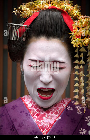 Portrait of a Japanese geisha in Kyoto, Japan - Stock Image