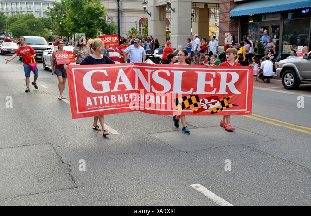 Supporters of Gansler for Attorney General march in t,he Annapolis, Maryland 4th July parade - Stock Image