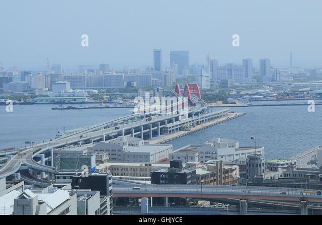 Port Island Kobe city view in Kobe Japan. - Stock Image