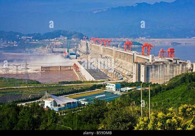 Three Gorges Dam viewed from the visitor and tourism area Yangzi River China JMH3438 - Stock Image