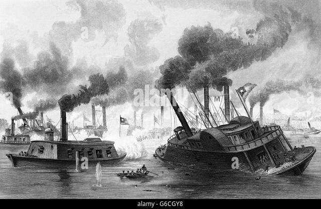 1860s JUNE 1863 BATTLE OF THE RAMS NAVAL ATTACK STEAMSHIPS ON MISSISSIPPI RIVER DURING BATTLE OF MEMPHIS - Stock Image