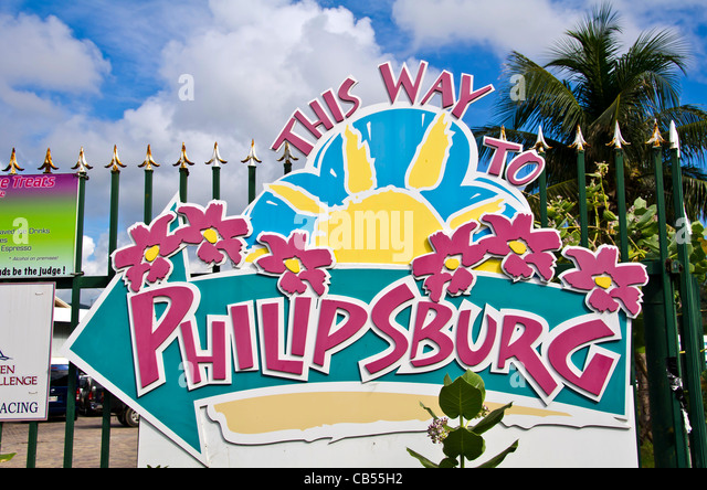 St Maarten Philipsburg cruise dock direction sign 'this was to Philipsburg' - Stock Image