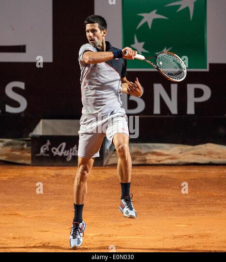 Novak Djokovic vs Phillip Kohlscheiber at the Rome ATP Tennis International 2014 - Stock Image