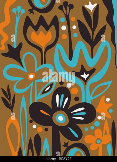 A whimsical illustration of wild flowers - Stock-Bilder