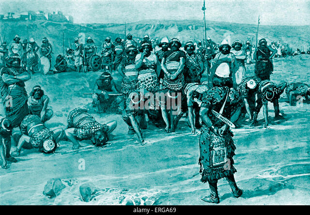 Gideon chooses the three hundred by J James Tissot. Illustration to the Book of Judges, 7.6: 'And the number - Stock Image
