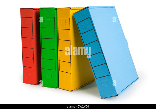 Four file archive boxes in bright colours. Small shadow at base, clipping path on boxes. - Stock Image