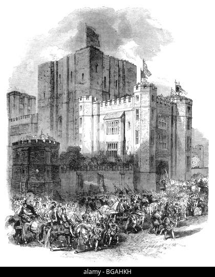 Illustration; The Arrival of Queen Elizabeth I at Kenilworth Castle 1572 - Stock Image