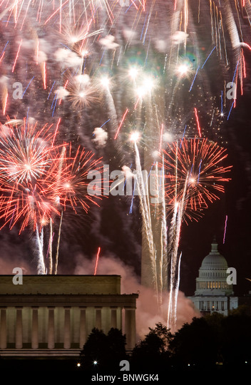 Fourth of July fireworks in Washington, DC.  - Stock Image