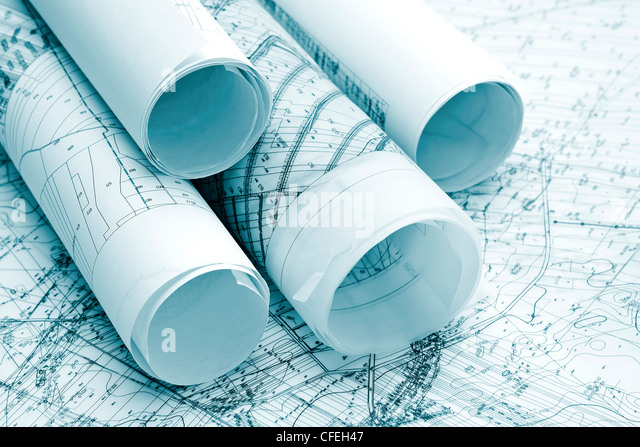 architecture blue plans - Stock Image