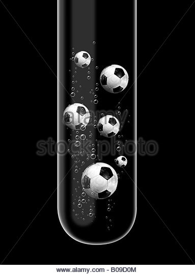 football Illustration of footballs in a test tube - Stock-Bilder