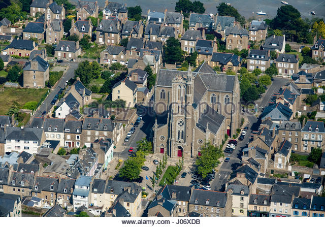 Historic Twon and Church Normandy France - Stock Image