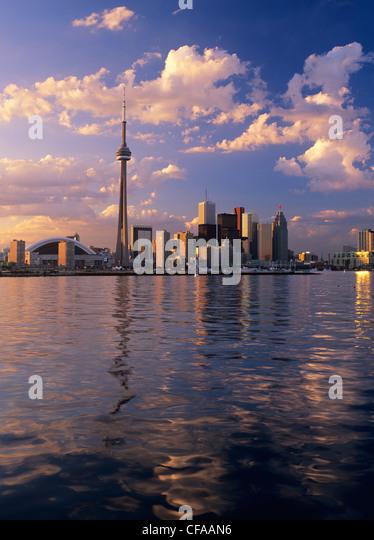skyline view from toronto islands at sunset, toronto, ontario, canada. - Stock Image