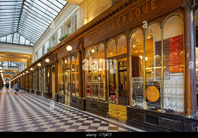 Cafe de l´Epoque in Passage Vero Dodat , Paris, France - Stock Image