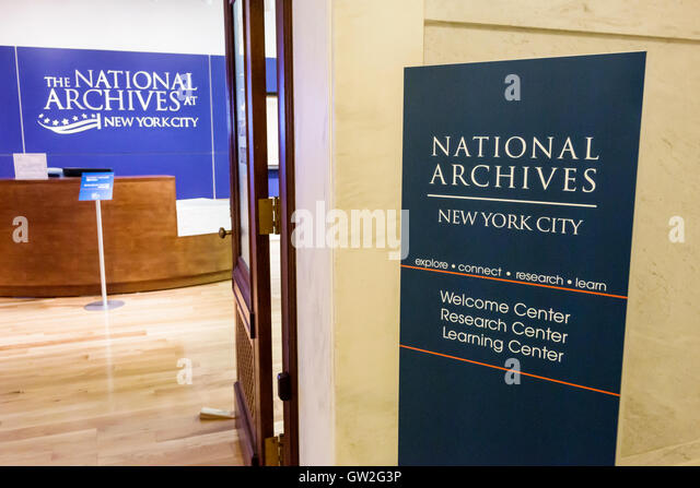 New York New York City NYC Lower Manhattan Financial District National Archives research historical records entrance - Stock Image