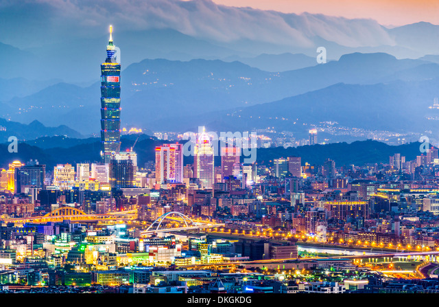 Modern office buildings in Taipei, Taiwan at dusk. - Stock Image