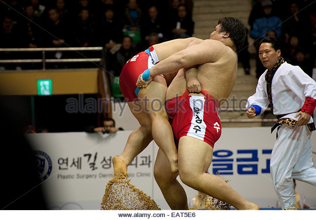 Opponents face off at a SSireum wrestling match. - Stock Image