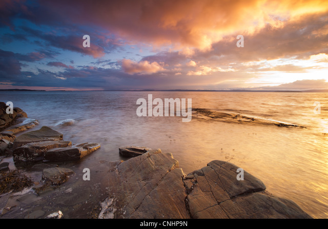 Beautiful sunset at Nes on the island Jeløy, Oslofjorden, Norway. - Stock-Bilder