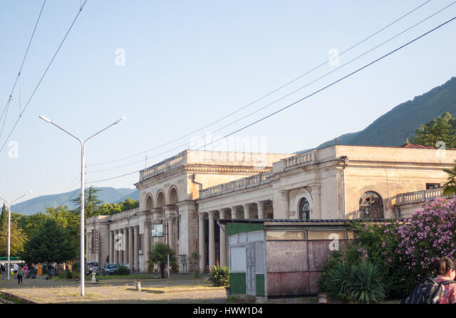 Railway station in Gagra in the summer resort of Abkhazia - Stock Image