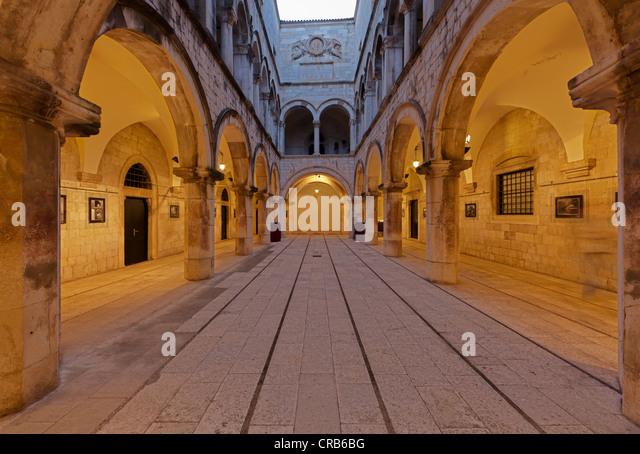 Old town of Dubrovnik at dusk, Sponza Palace, UNESCO World Heritage Site, central Dalmatia, Dalmatia, Adriatic coast, - Stock Image
