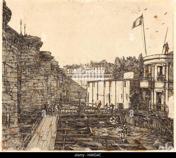 Charles Meryon, French (1821-1868), Bain-froid chevrier, dit 'de l'École' (Chevrier's Cold - Stock-Bilder