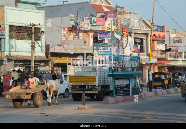 Kothacheruvu high street, Andhra Pradesh, India - Stock Image