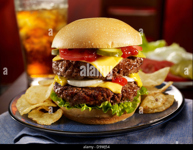 Double cheese burger - Stock Image