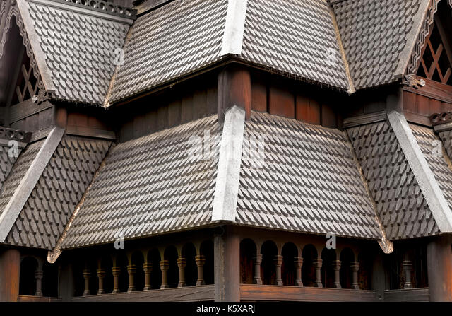 Close-up of the rooftop of the Stave Church (Stavkirke) in the NORSK FOLKEMUSEUM, an open air Museum of cultural - Stock Image