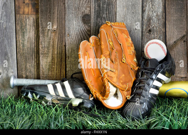 Time to play American baseball with the right equipment. - Stock-Bilder