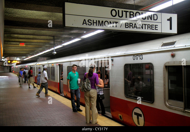 Boston Massachusetts South Boston Andrew Station MBTA T Red Line platform subway train Braintree sign outbound passengers - Stock Image