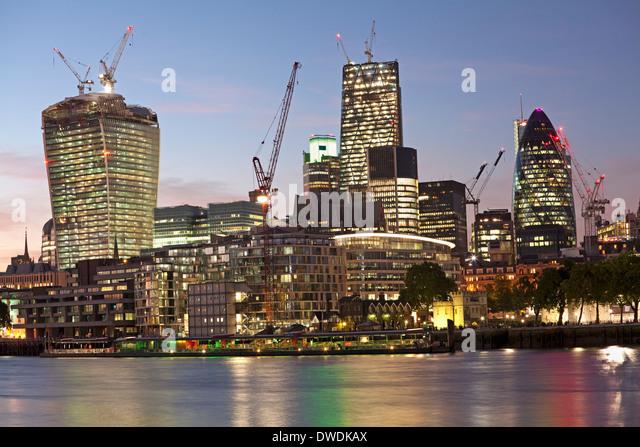 London skyline at dusk, England - Stock Image