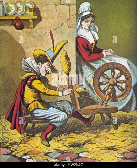 RUMPELSTILTSKIN fairy tale collected by the Brothers Grimm. Here he helps the miller's daughter with her spinning - Stock-Bilder