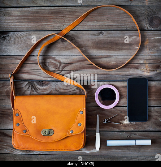 woman bag stuff, handbag - Stock Image