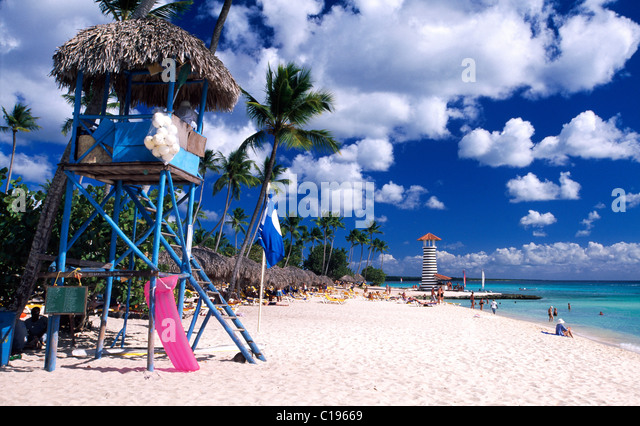 Palm beach in Bayahibe, Dominican Republic, Caribbean - Stock Image