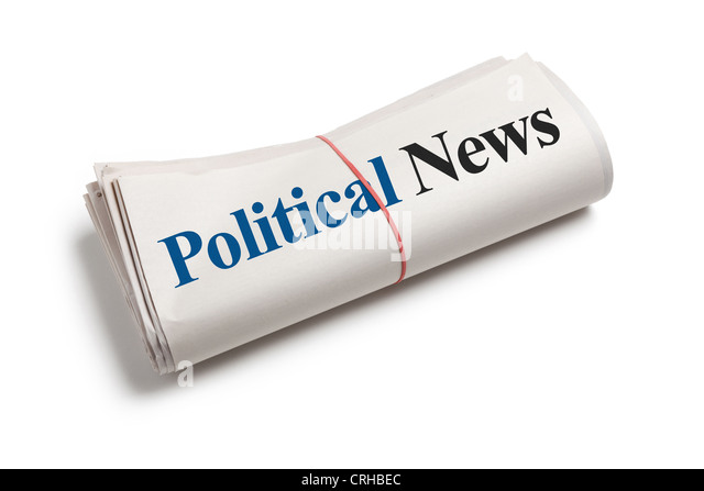 Political News, Newspaper Roll with white background - Stock Image