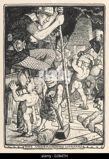 Underground workers  (German myth). - Stock Image