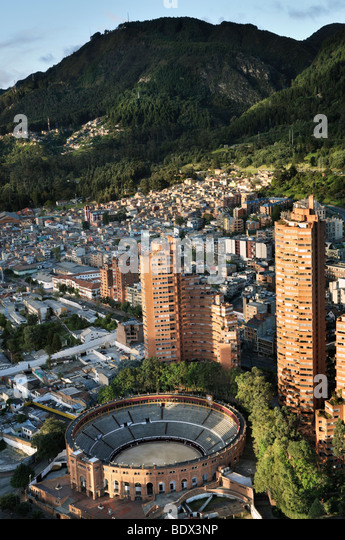 Aerial view of the Santa María bullring in Bogotá, Colombia - Stock Image