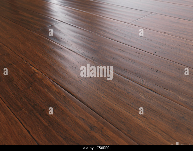 Antique wheat bamboo hardwood flooring - Stock Image
