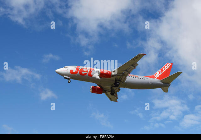 Jet2.com Boeing 737 aircraft on the final approach to Manchester Airport UK - Stock Image