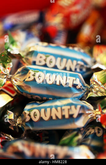 Bounty bars part of the Mars  Celebrations selection - Stock Image