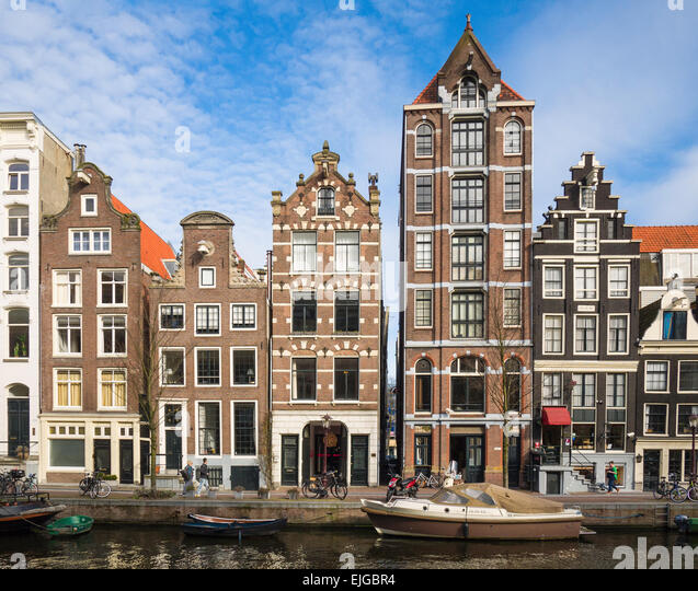 Traditional canal house buildings on Herengracht Canal, Amsterdam, Netherlands. - Stock Image
