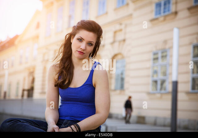 Portrait of young adult woman - Stock-Bilder