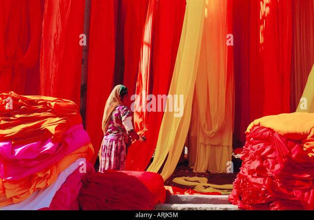 Sari garment factory, Rajasthan, India - Stock Image