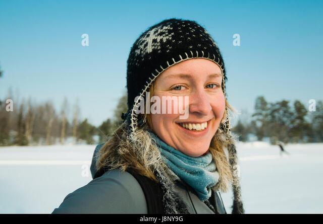 Portrait of smiling woman - Stock-Bilder