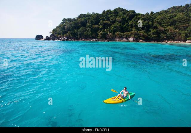 kayaking on paradise beach - Stock-Bilder