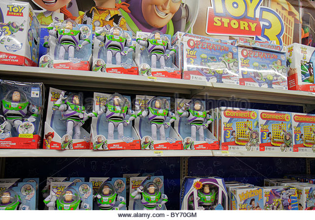 North Miami Beach Florida Wal-Mart retail display for sale packaging Toy Story - Stock Image