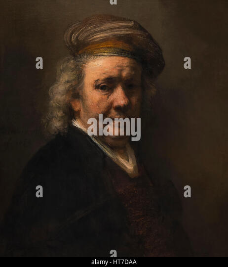Self-Portrait, by Rembrandt, 1669, Royal Art Gallery, Mauritshuis Museum, The Hague, Netherlands, Europe - Stock Image