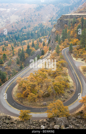 High angle view of a highway, Historic Columbia River Highway, Columbia River Gorge, Mosier, Oregon, USA - Stock Image